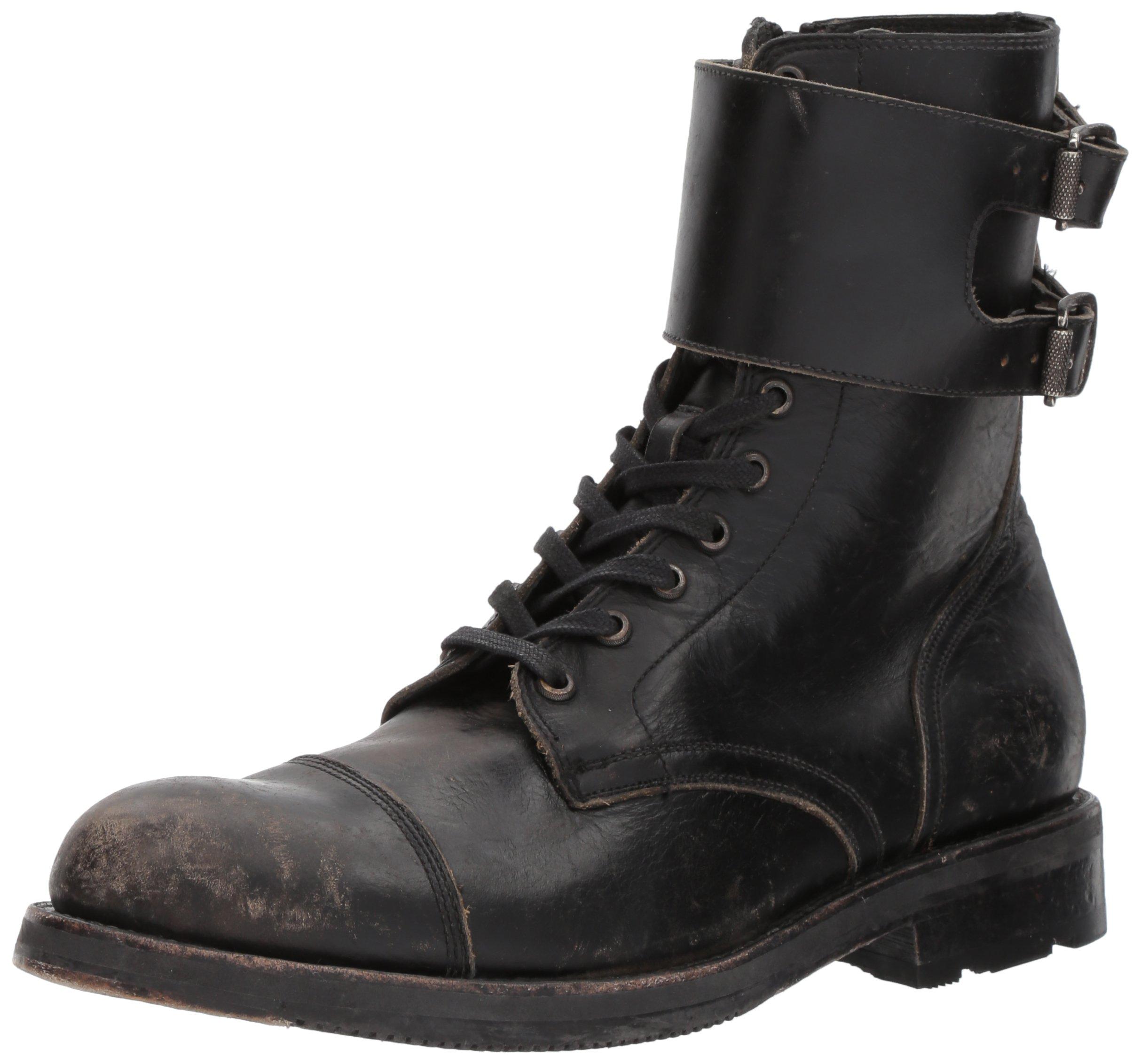 FRYE Men's Officer Cuff Combat Boot, Black, 9 D US