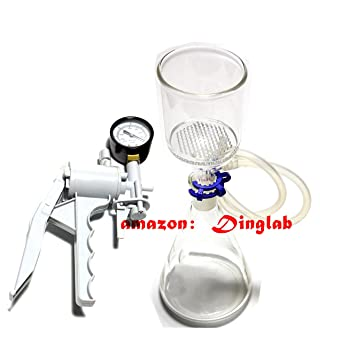 Dinglab ,500ml,Suction Filtration Device,47mm Buchner Funnel,Glass Flask  With Vacuum Pump