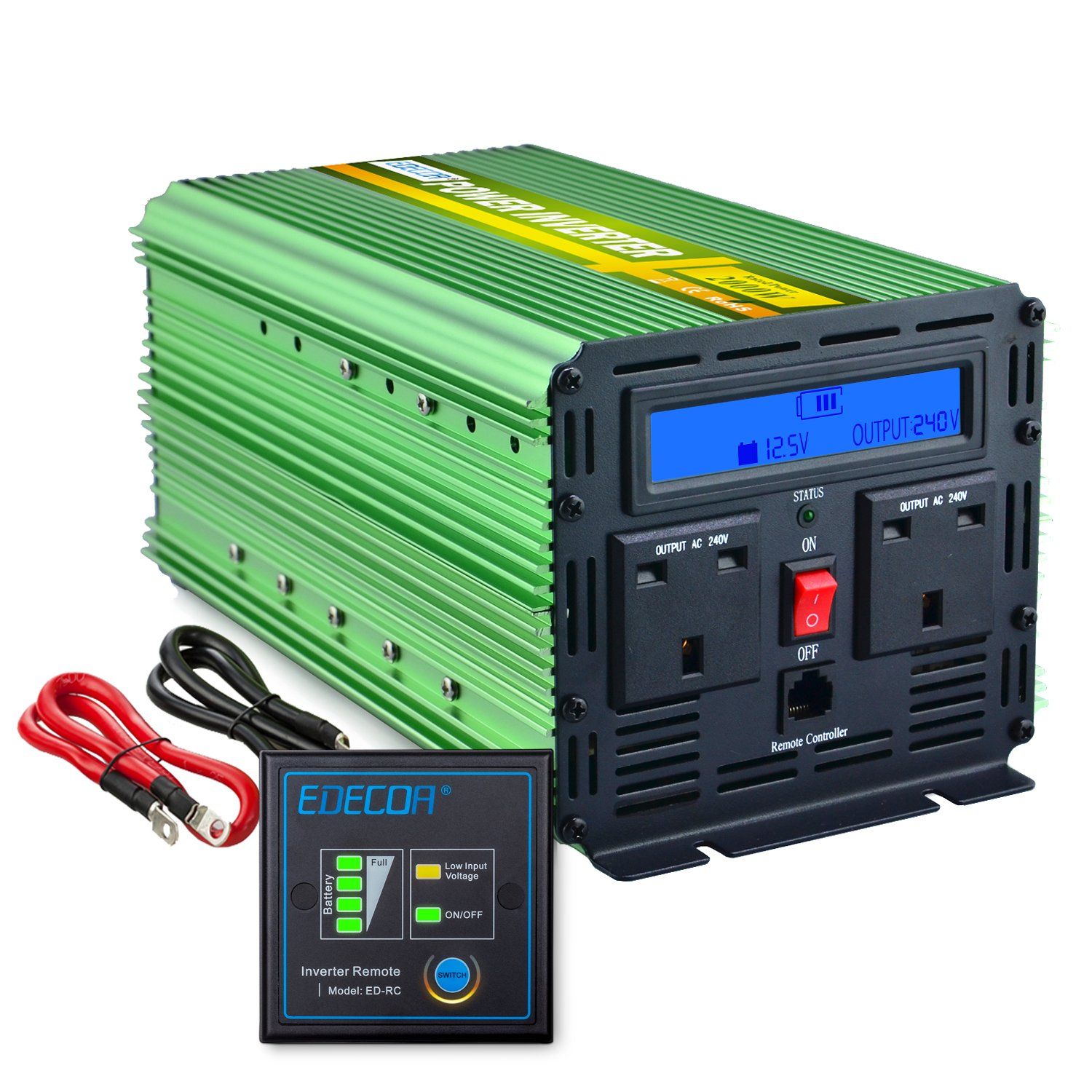 EDECOA Power Inverter 2000W DC 12V to 240V AC Car Vehicle with LCD Display and Remote - Green CT9M21G20L