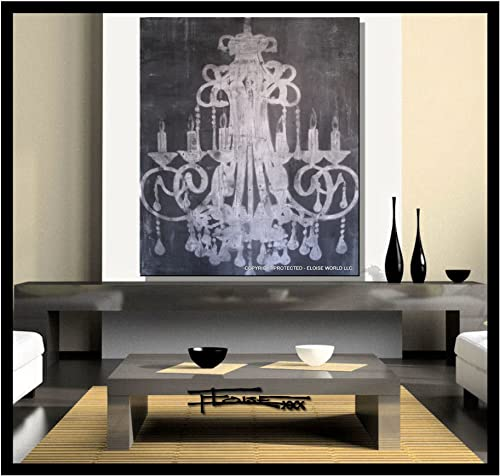 Abstract Modern Canvas Painting, Contemporary Wall Art – Charcoal Chandelier – 36 x 30 x 1.5 Ready to Hang. Direct from studio ELOISE WORLD.