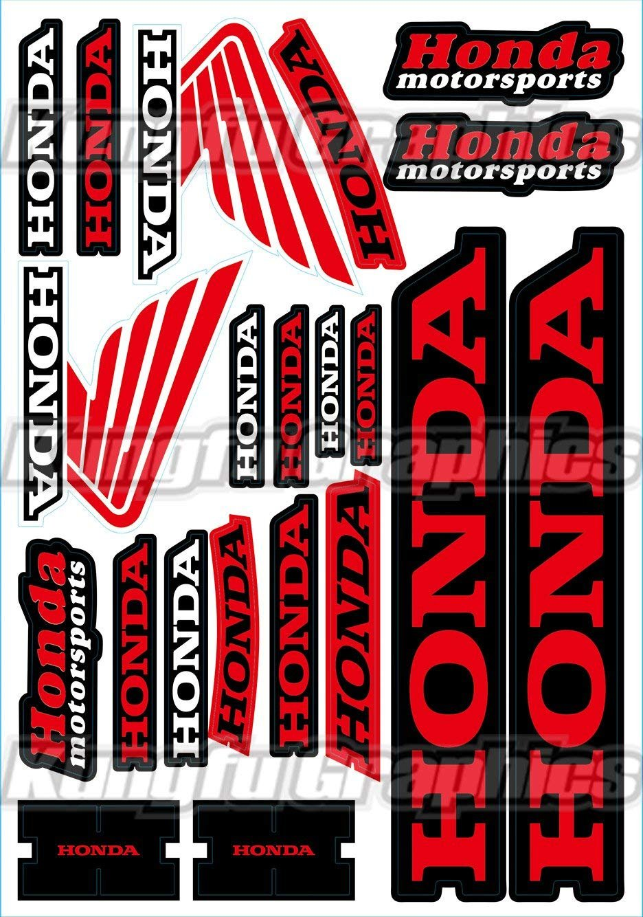 Kungfu Graphics Honda Wings Sponsor Logo Racing Sticker Sheet Universal (7.2x 10.2 inch), Red Black