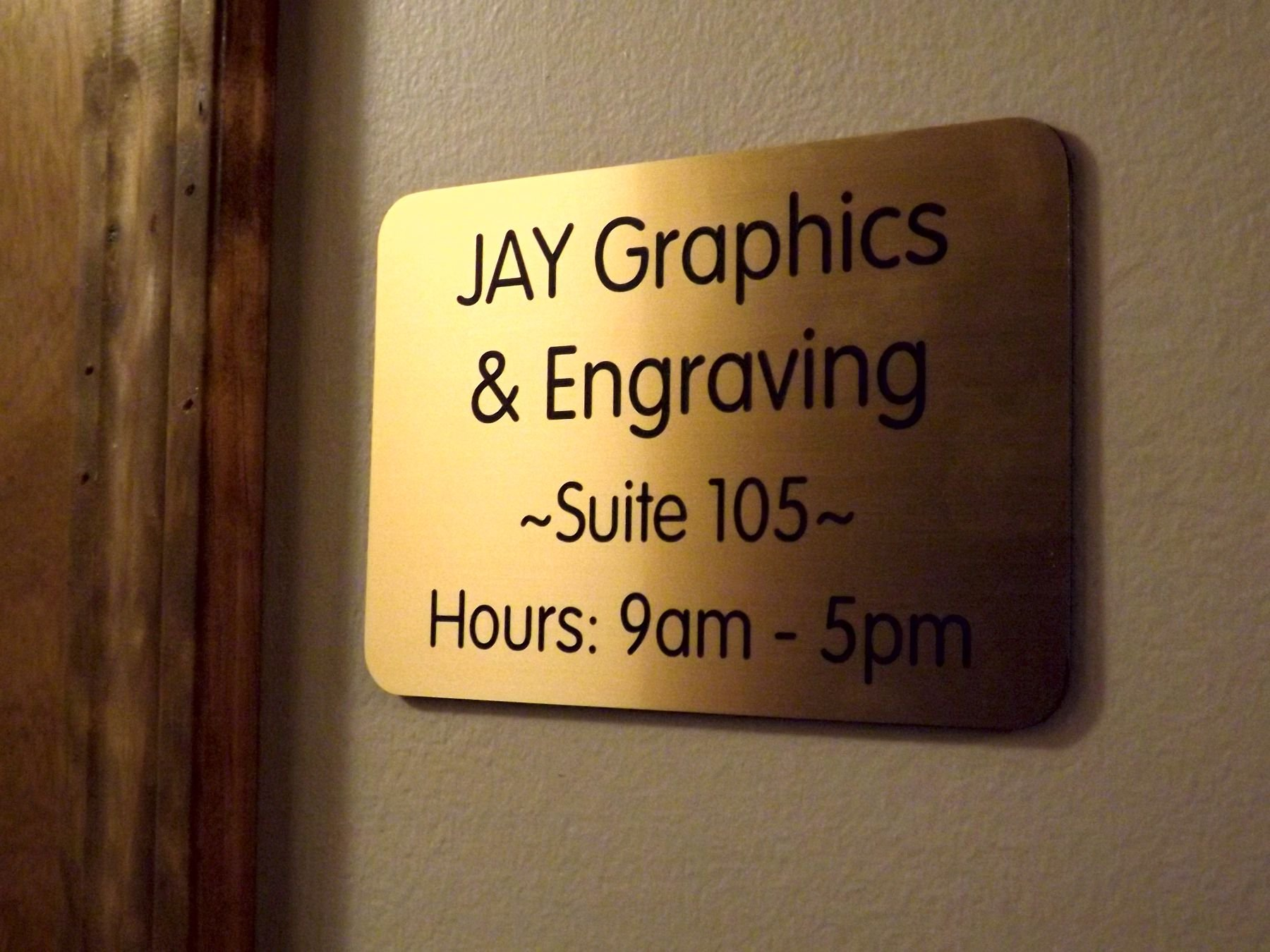 Custom Engraved 4x6 Brushed Gold w/ Black Lettering Door Suite Wall Sign | Name Plate | Personalized Wall Plaque | Business Doctor Law Firm Home Office Cafe Shop | Up to 4 Text Lines | Adhesive Backed
