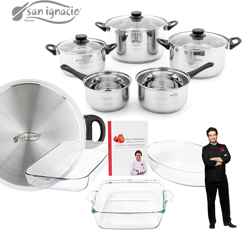 Set de bater/ía de cocina 8 piezas con tapas de vidrio y juego de fuentes para horno Masterpro San Ignacio