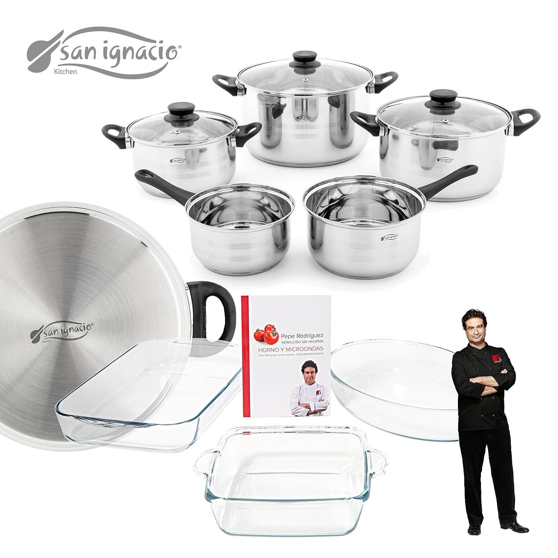 San Ignacio - Set de batería de cocina 8 piezas con tapas de vidrio y juego de fuentes para horno Masterpro: Amazon.es: Hogar