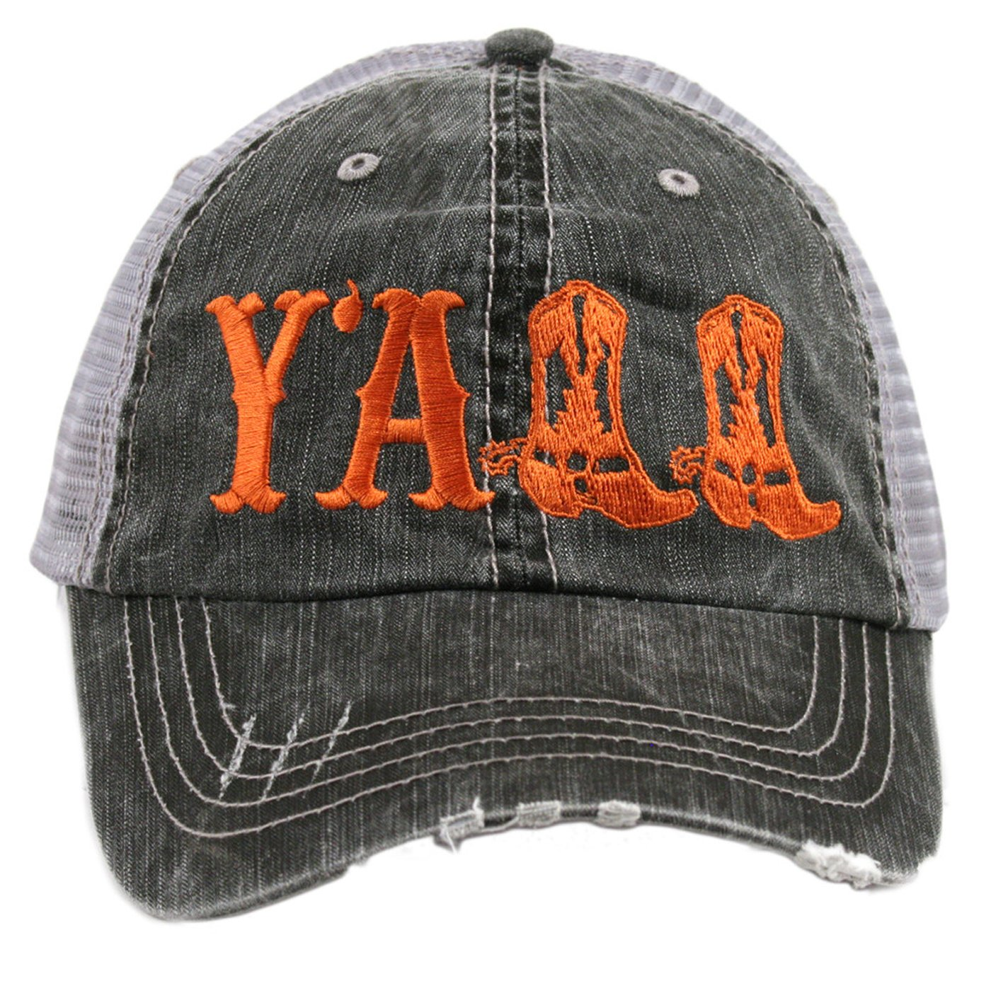 Y'ALL Women's Distressed Southern Country Trucker Hat (Orange)