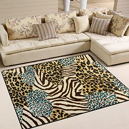 ALAZA Animal Zebra Leopard Print Area Rug Rugs For Living Room Bedroom ...