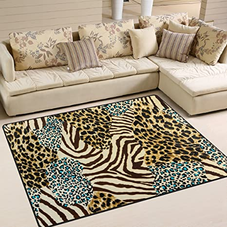 Amazon.com: ALAZA Animal Zebra Leopard Print Area Rug Rugs ...