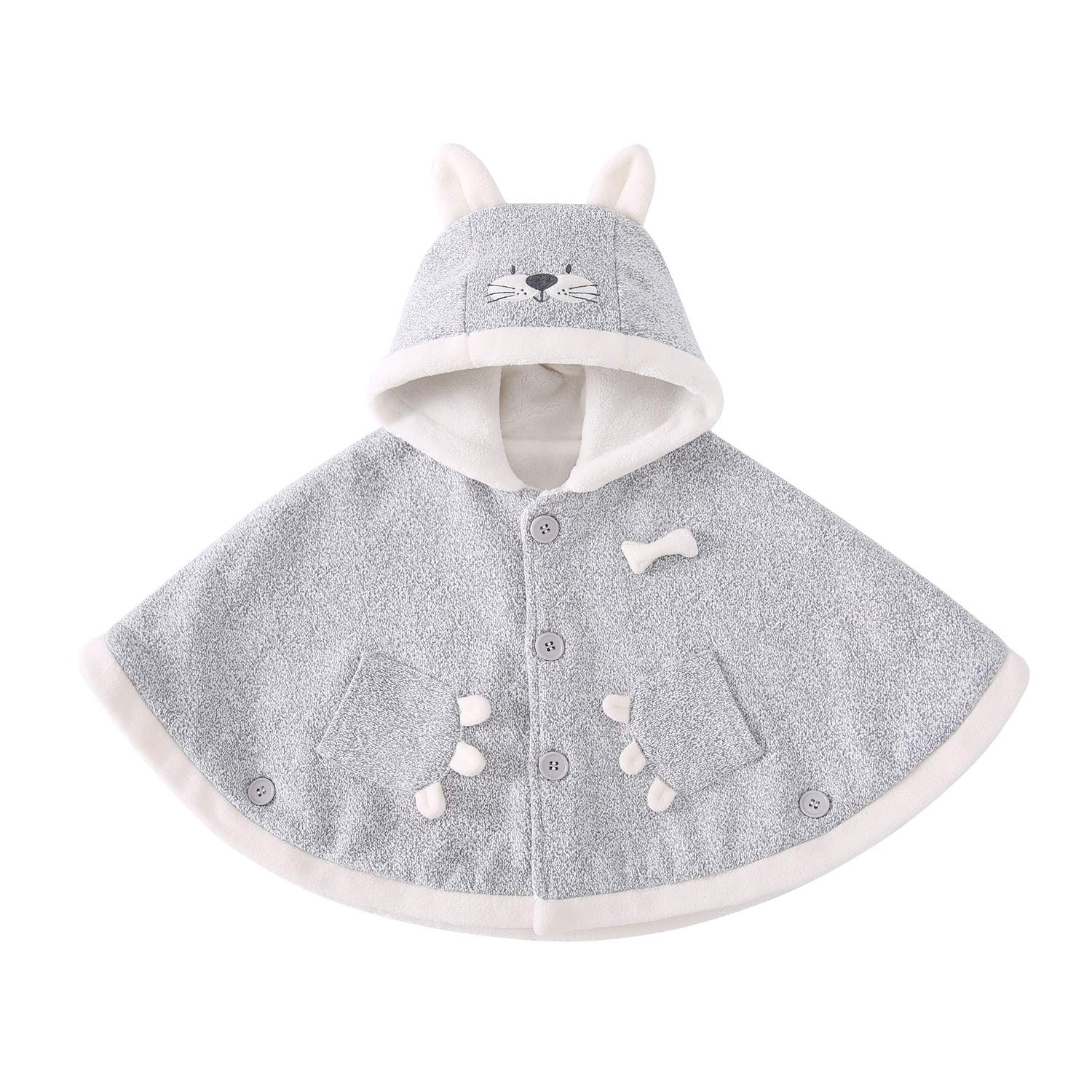 pureborn Infant Boys Cartoon Cat Hooded Carseat Poncho Fleece Cloak Winter Outfit Gray 0-1 Year by pureborn