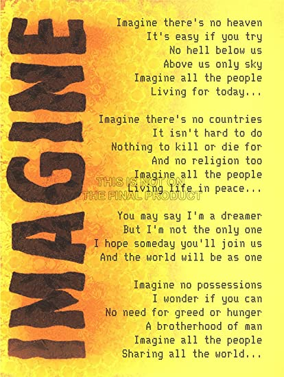 IMAGINE MUSIC JOHN LENNON LYRICS MOTIVATION TYPOGRAPHY QUOTE ART 12x16 Quot POSTER QU271B