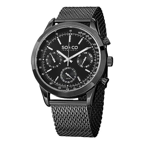 Co York Inoxidable 3 Soamp; Deacero 5006a De Hombre Pulsera Correa New Reloj Cuarzo Negro Monticello hCsrtQdx