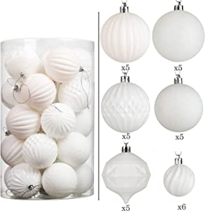 Wyness Christmas Balls Ornaments Set Festival Home Party Decors Xmas Tree Hanging Decorative Baubles Tree Ornaments Hooks Set of 31pcs(1.97in/2.75in,White)