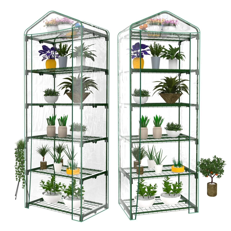 Utheing 5 Tier Greenhouse Shelf with PVC Cover for Outdoor Indoor Garden Plants
