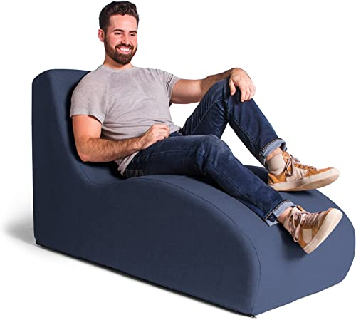 Jaxx Shea Lounger – Plush Foam Lounge Chair for Living Rooms, Dorms, or Offices – Navy
