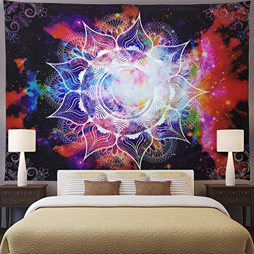 Ameyahud Mandala Tapestry Bohemian Psychedelic Tapestry Wall Hanging Celestial Starry Sky Tapestry Moon Star Mandala Trippy Wall Tapestry for Bedroom Living Room Dorm