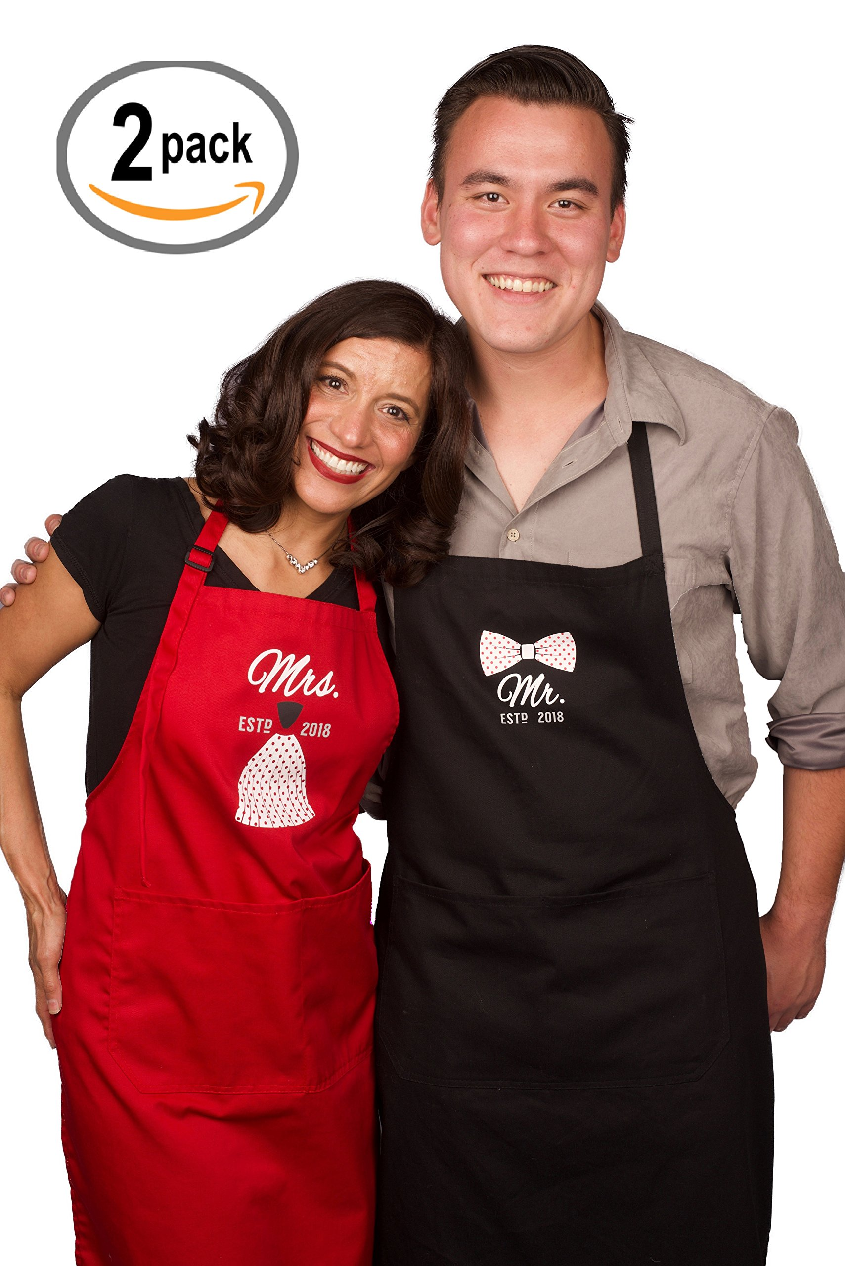 Mr Mrs Anniversary Apron Gift - Year 2018 - Man and Women 2 Piece Set - Perfect for engagements, weddings, happy anniversaries, bridal showers, valentines day by 2MU by 2MU