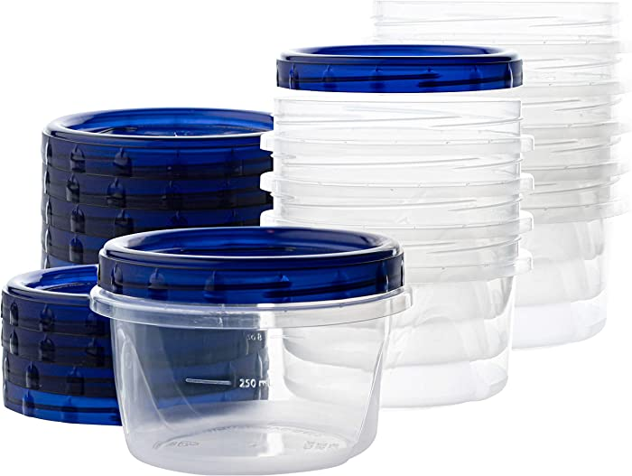 [16 oz 10 Pack] Twist Top Deli Containers Clear bottom With blue Top Twist on Lids Reusable, Stackable, Food Storage Freezer Container