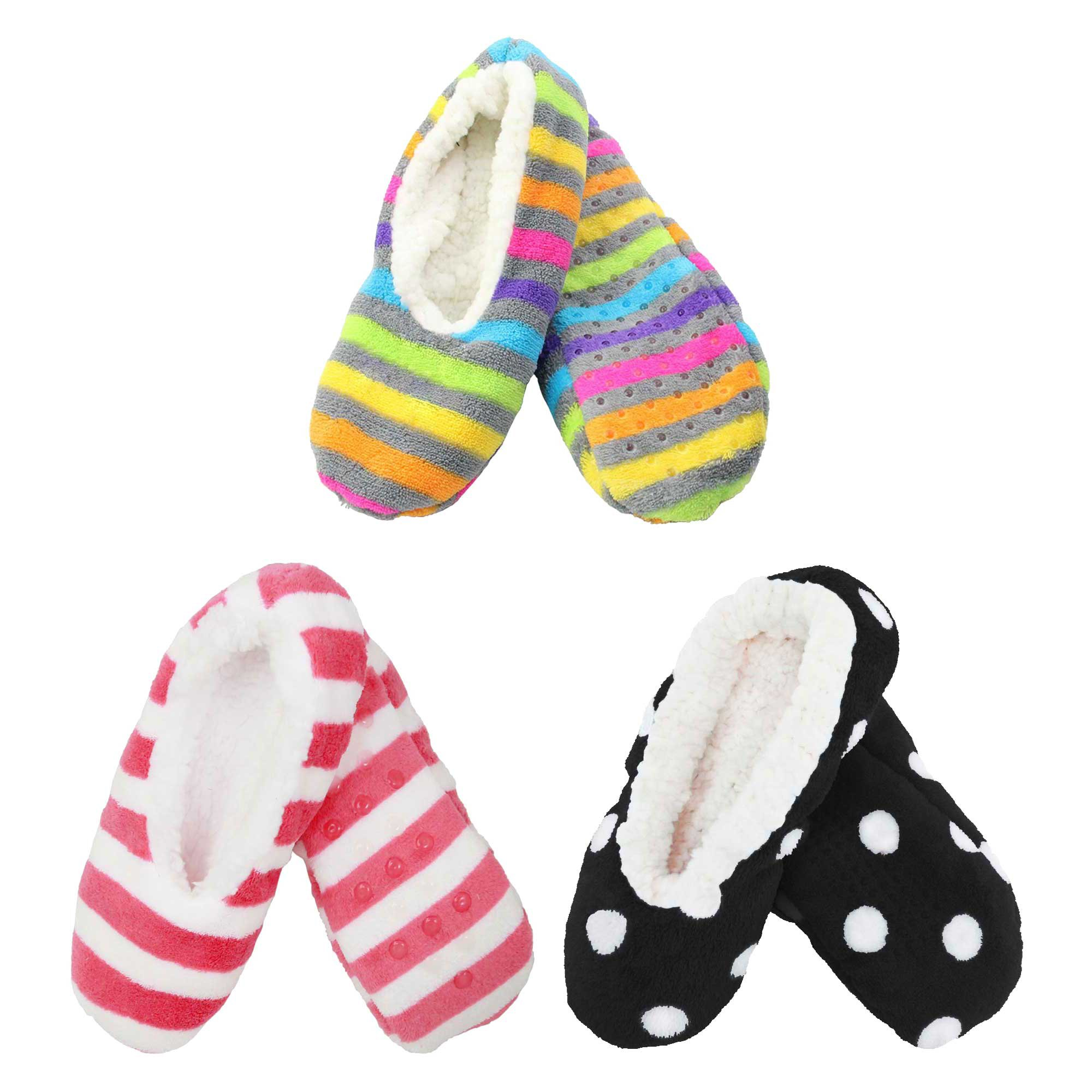 3 Pairs Adult Size Large Super Soft Warm Cozy Fuzzy Slippers Non-Slip Lined Socks, Assortment N17