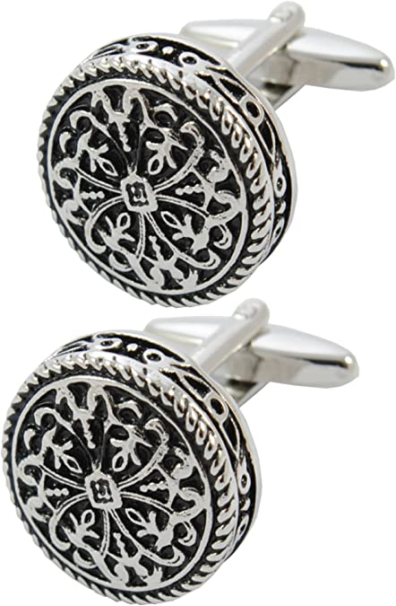 Ornate Silver Cufflinks with Presentation Box