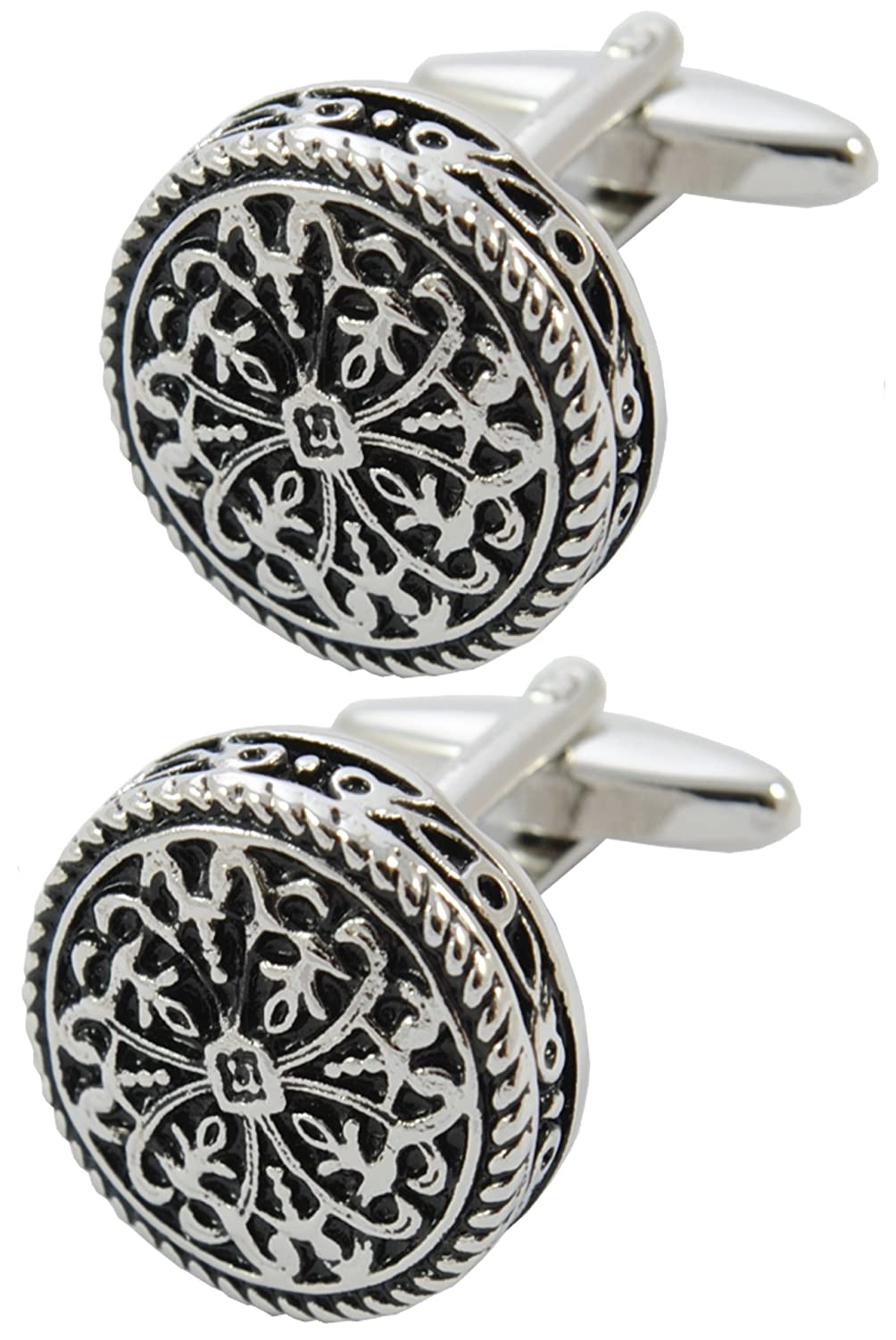 COLLAR AND CUFFS LONDON - PREMIUM Cufflinks WITH GIFT BOX Antique-Style Celtic Design - Brass - Round Cross Design - 20mm Diameter - Silver and Black Colours COLLARANDCUFFSLONDON40184