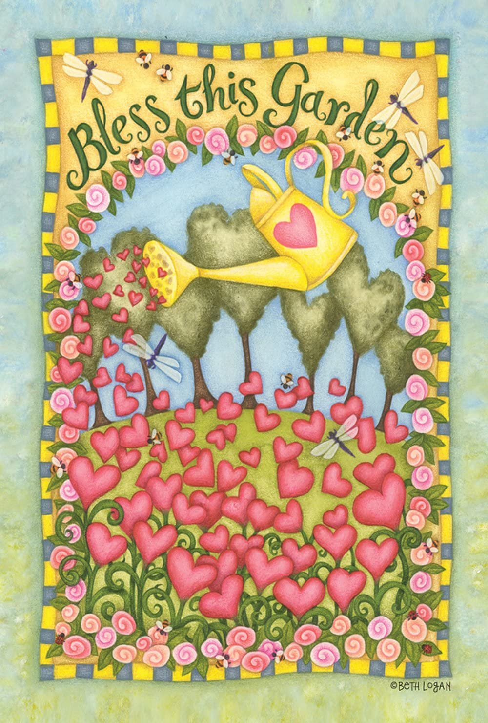 Toland Home Garden Bless This Garden 12.5 x 18 Inch Decorative Cute Spring Summer Heart Flower Garden Flag