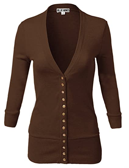 Ollie Arnes Womens Cardigan With ¾ Sleeves And Ribbed Cuff With