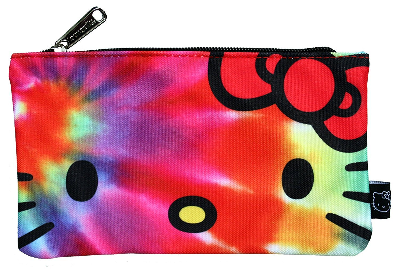 Amazon.com  Loungefly Sanrio Hello Kitty Rainbow Tye Dye Nylon Cosmetic  Pencil Bag Pouch  Beauty 663d2600f493b