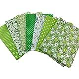 花柄 綿混紡 生地 DIY手芸用 カットクロス パッチワーク布 はぎれ 50×50cm 7枚セット (グリーン)