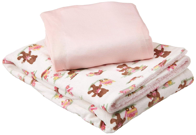 My Baby Toddler Girls Bear Wagon Printed Mink Reversed Coral Fleece with Cotton Sheet Crib Bedding Set, Pink