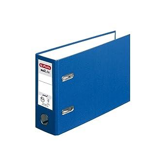 Herlitz 10842359 Ordner maX.File Protect, A5, quer, blau, 8 cm, PP-Folienbezug, FSC Mix