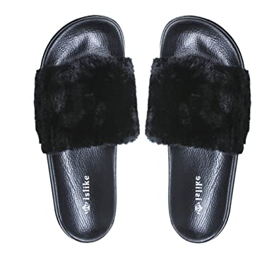Fur Slides Beauty Deco Women Sandals Slippers Flip Flop Soft Flat
