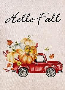 Selmad Hello Fall Garden Flag Pumpkin Red Truck Double Sided, Small Burlap Farm House Yard Sign, Autumn Leaves Harvest Farmhouse Country Seasonal Outdoor Vintage Décor 12 x 18
