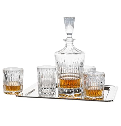 Superb Fitz And Floyd 6 Piece Danbury Crystal Whiskey Barware Set With Decanter  And 4 Double