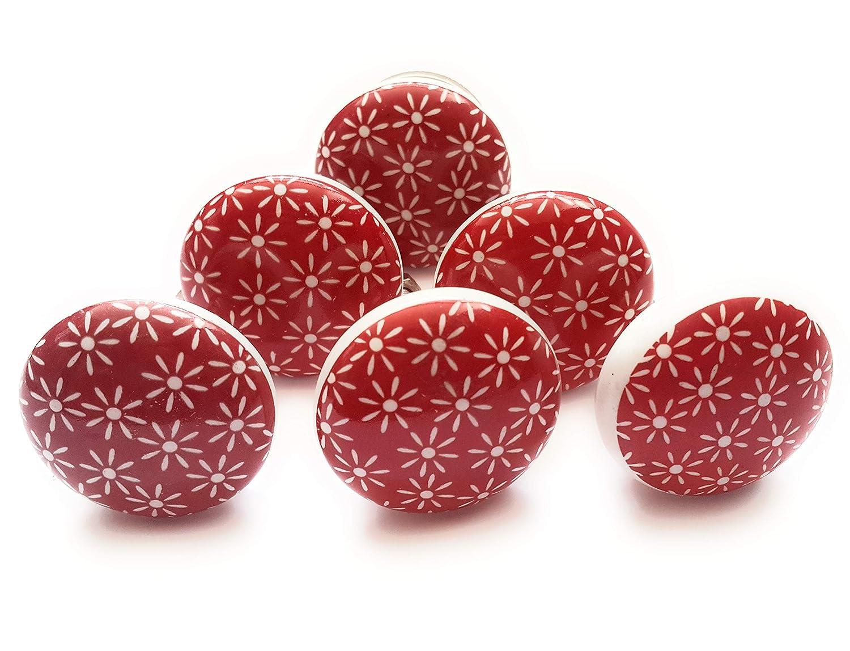 mobilier - 38 mm rouge French Furniture Fittings Lot de 6 boutons de poign/ées en c/éramique pour placard de cuisine motif marguerite coffre armoire tiroir style shabby chic vintage