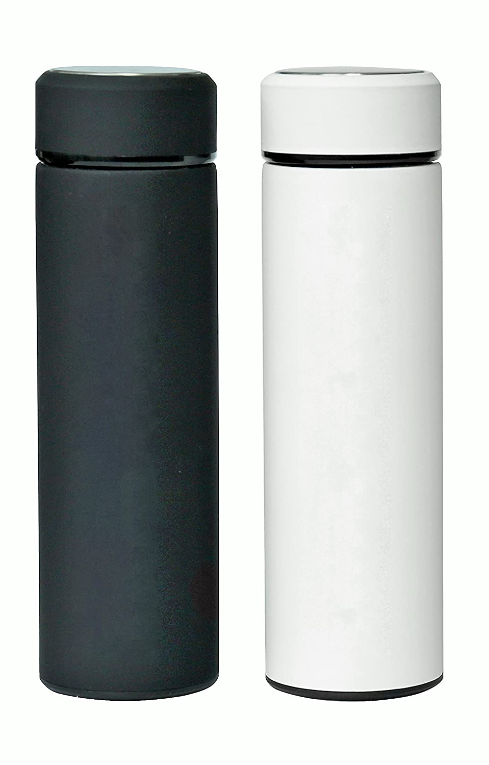 Stainless Steel Water Bottle Tumblers: BPA Free, Vacuum Insulated Travel Mug with Lid and Removable Fruit and Tea Filter for Hot or Cold Beverages - 17 oz. Infuser Bottles Set of 2