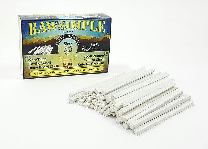 Rawsimple Grade A Fine White Slate 50 Pencils (Set of 50 pencils)