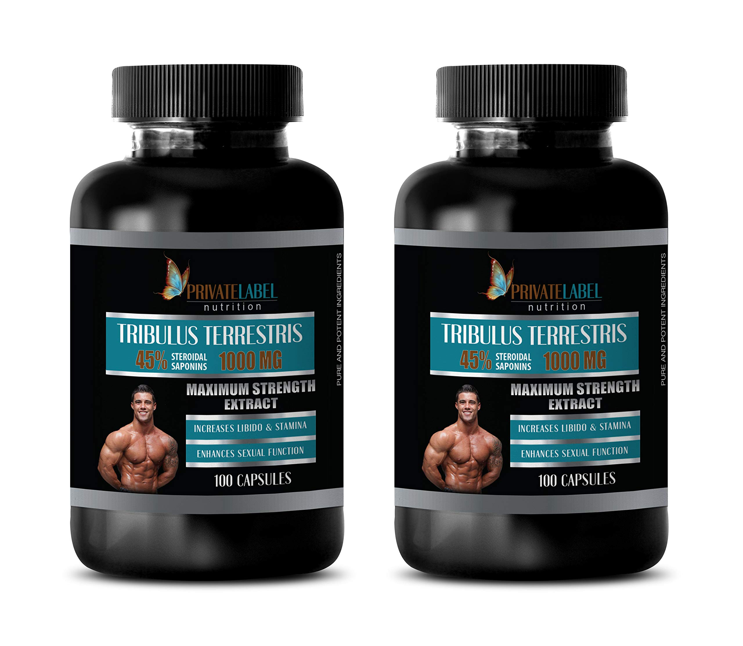 Testosterone Booster libido for Men - TRIBULUS TERRESTRIS 45% STEROIDAL SAPONINS 1000MG - Maximum Strength Extract - tribulus Strength - 2 Bottles 200 Capsules