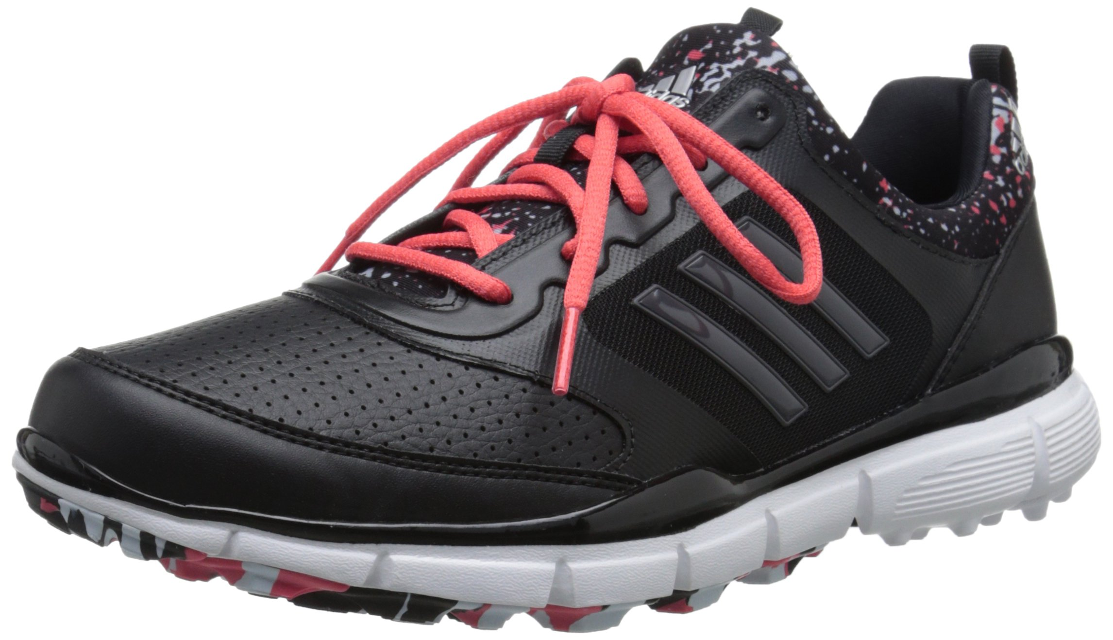 adidas Women's W Adistar Sport Golf Spikeless, Core Black/DGH Solid Grey/Sunset Coral-TMAG, 8 M US