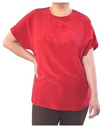 Damen Shirt Tops Hemd 100% Seide Kurzarm Kurze Ärmel Rot 4D Uni ...