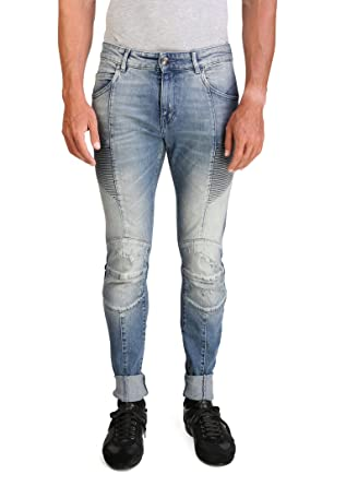 6a94a6c0 Pierre Balmain Men's Skinny Fit Distressed Biker Denim Jeans Pants Light  Blue: Pierre Balmain: Amazon.co.uk: Clothing
