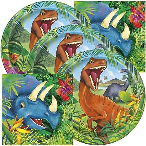 Dinosaur Themed Birthday Party Napkins and Plates (Serves 32)