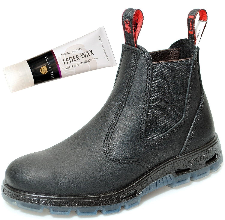 Redback UBBK Work Boots Arbeitsschuhe Aus Australien Unisex   Black + Lederwax von Solitaire