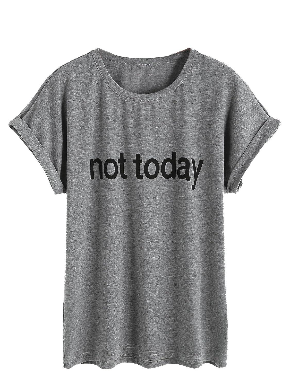 ROMWE Damen Top mit Spruch Buchstaben Sommer T Shirt