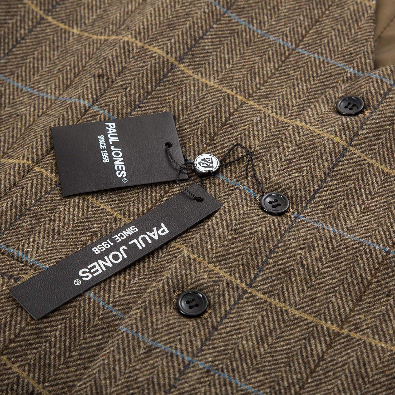 PAUL JONES Mens British Herringbone Tweed Vest Premium Wool Waistcoat