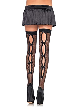 4ce66d2692ee7 Leg Avenue Women's Bow Back Seam Thigh High Stockings, Black, One Size, 4