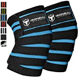 """Knee Wraps (1 Pair) - 80"""" Elastic Knee and Elbow Support & Compression - For Weightlifting, Powerlifting, Fitness, WODs & Gym Workout - Knee Straps for Squats"""