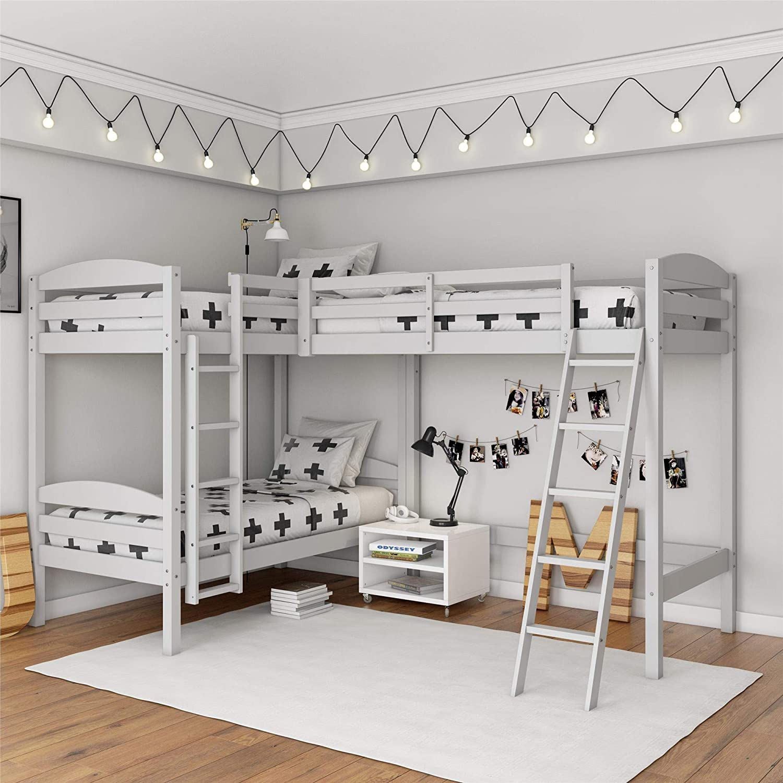 Amazon Com Dorel Living Clearwater Triple White Bunk Beds Furniture Decor