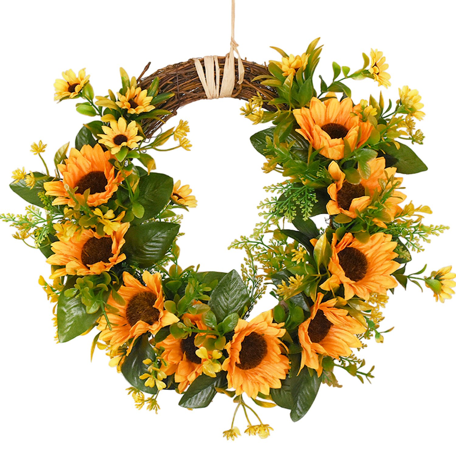 """Artificial Sunflower Wreath Flower Wreath with Yellow Sunflower and Green Leaves for Front Door Indoor or Outdoor Wall Wedding Home Decoration, 13.8"""""""