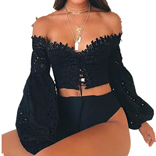 4b38540acc7 Women Sexy Off Shoulder Lace Crochet Lantern Sleeve Cami Shirts Lace-up  Hollow