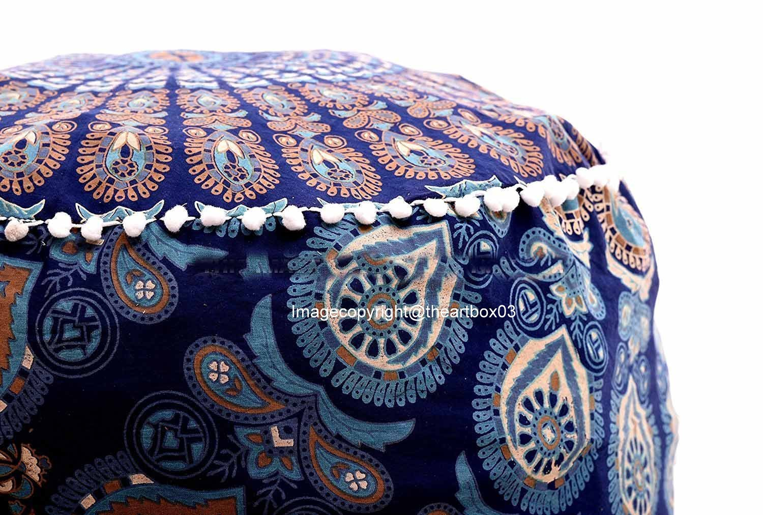 Art Box Store Blue & Multi-color Ottoman Pouf Cover Indian Foot Stool Cover Vintage Kid Seating Ottomans Pouf Covers Pouffe Round Floor Cushion Cover artboxstore