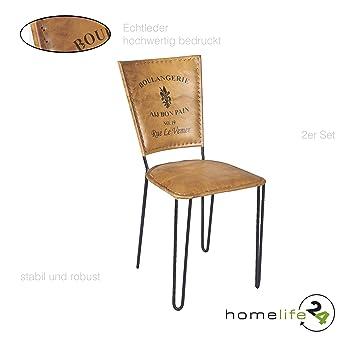 Stuhl 2er Set Leder Braun Schwarz Eisen Stuhl Retro Vintage Antik Echtleder  Wohnzimmerstuhl Esszimmerstuhl Für Ihre
